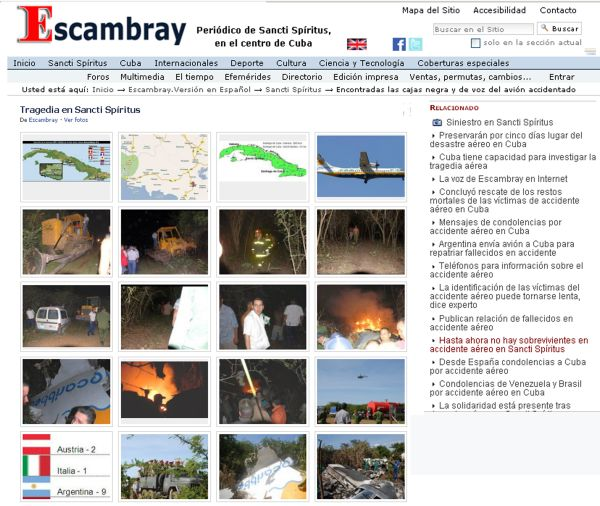 El accidente aéreo de Mayábuna ae considera como el suceso más trascendente cubierto en estos 15 años de Escambray digital.