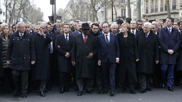 Cerca de 40 delegaciones internacionales se sumaron a la amrcha contra el terrorismo en Francia.