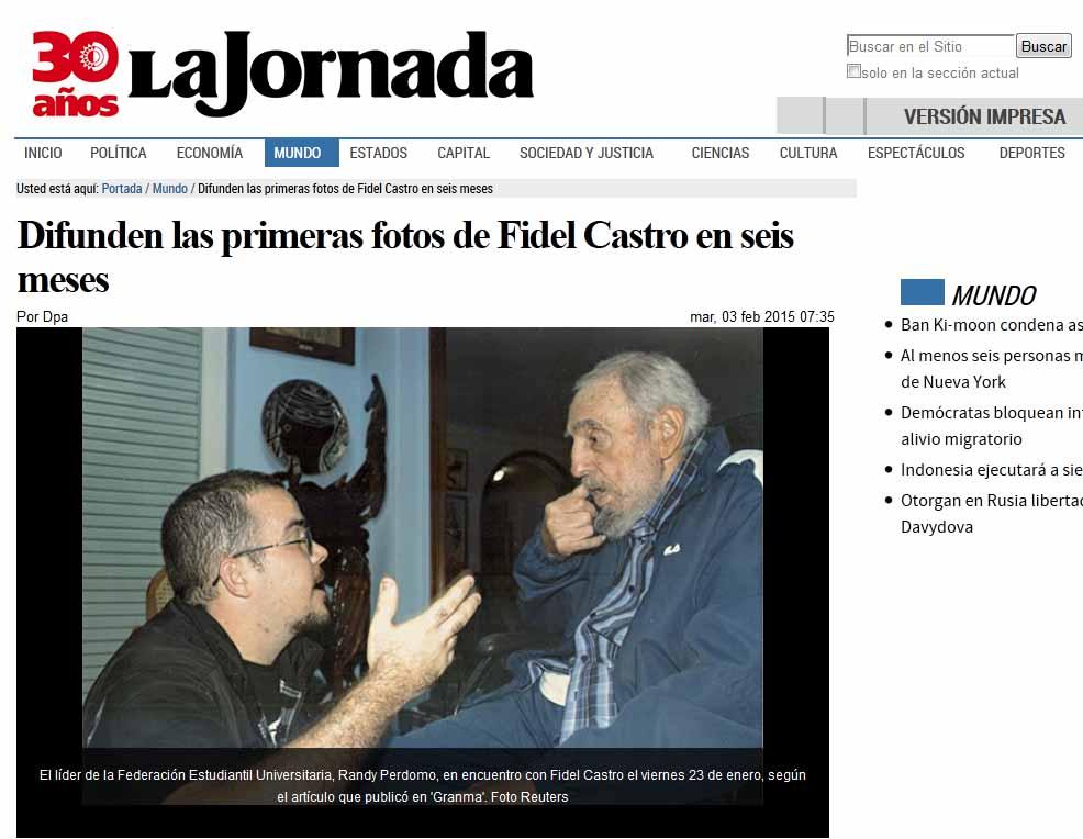 El diario La Jornada, de México, se hizo eco del encuentro de Fidel con el lider estudiantil habanero.