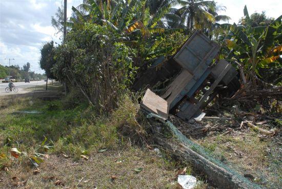 Daños a una plantación cercana, derribo de la cerca perimetral de una institución estatal y rotura de los útiles de un punto de venta fue el saldo del suceso.