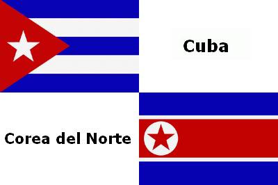 Cuba Norcorea banderas