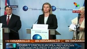 El canciller de Cuba y la representante de Política Exterior de la UE se reunieron este miércoles. | Foto: teleSUR