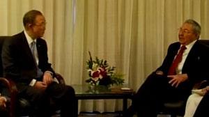 Raúl y Ban Ki moon abordaron temas de la agenda global.