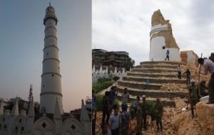 La torre Dharahara antes del terremoto, a la izquierda, y, a la derecha, después.