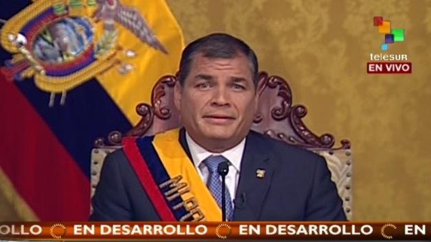 El presidente ecuatoriano se dirigió al pueblo tras las protestas orquestadas por la derecha y el asedio al partido gobernante Alianza País.