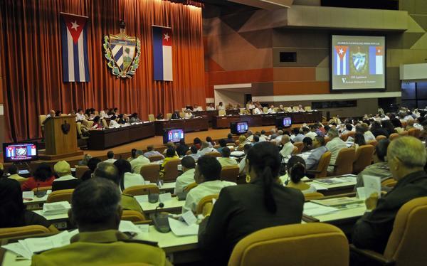 Vista de la sesión plenaria del el  V Período Ordinario de Sesiones de la VIII Legislatura de la Asamblea Nacional del Poder Popular. Foto AIN.