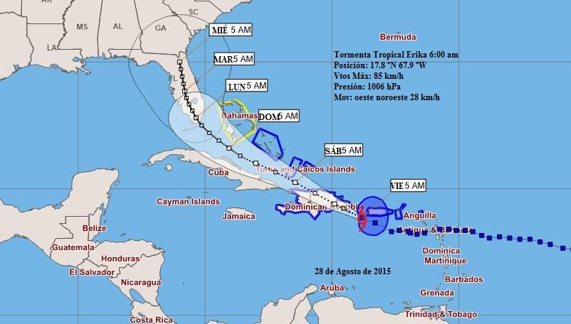 Erika debe aproximarse en la tarde del sábado al extremo oriental de Cuba.