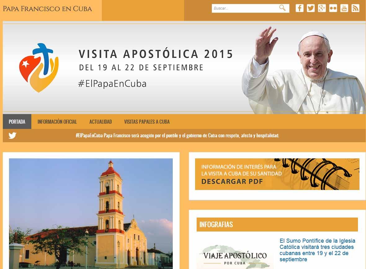 La cancillería cubana activó un sitio web oficial para brindar cobertura a la visita del Papa.