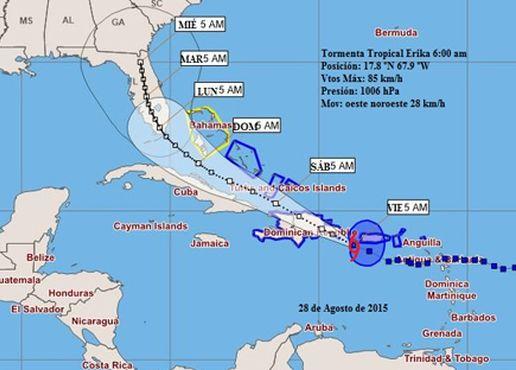 tormentan tropical erika, pronostico del tiempo