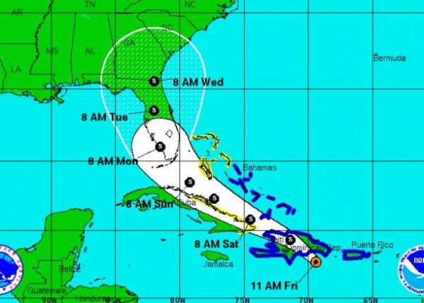 pronostico del tiempo, tormenta tropical erika, lluvias
