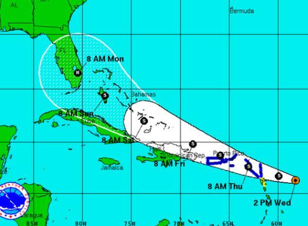 tormenta tropical erika, pronostico del tiempo