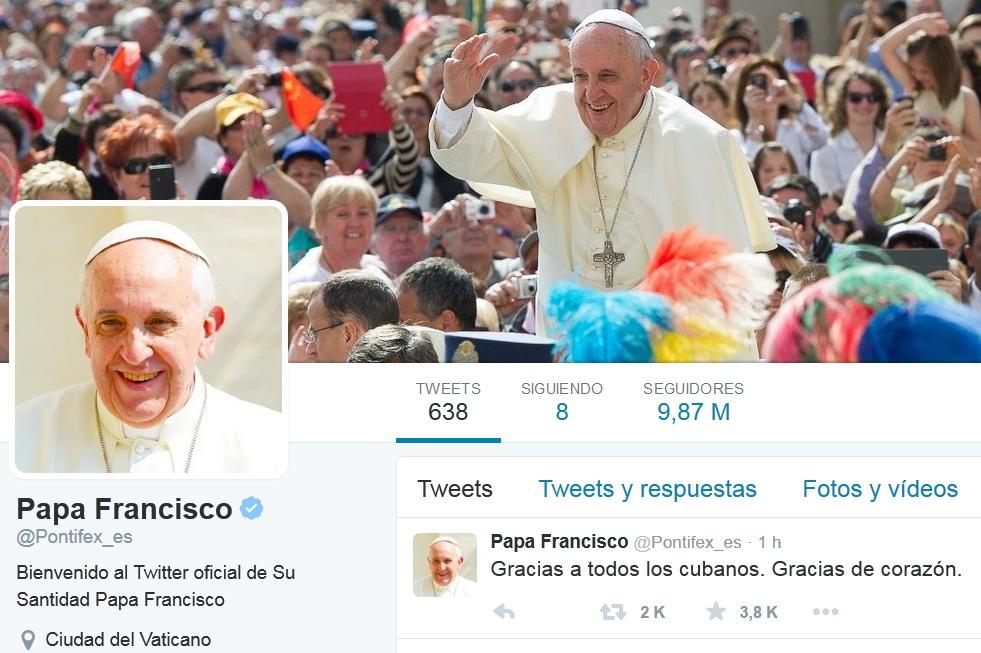 Mensaje en Twitter del Papa Francisco.