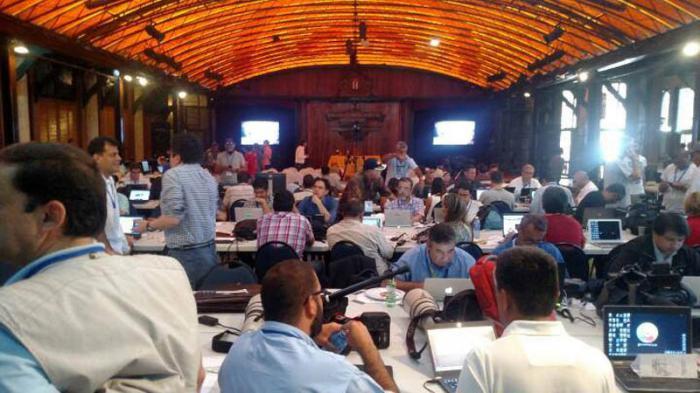 Sala de prensa habilitada en el Hotel Nacional de Cuba. (Foto: @aciprensa)