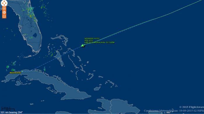 Vuelo de Alitalia a punto de llegar a Cuba.