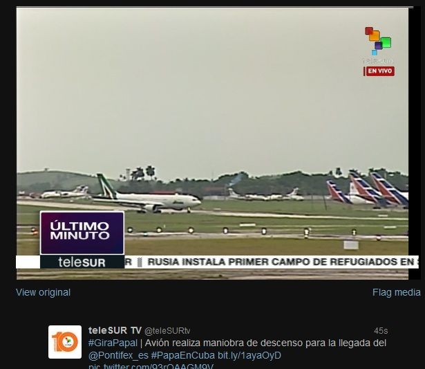 Telesur reporta sobre la llegada del Papa Francisco a Cuba.