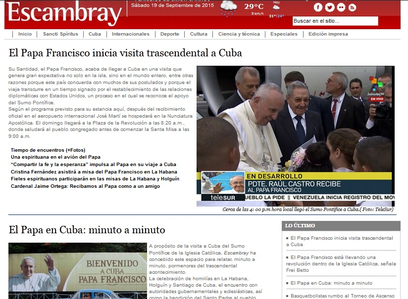 Escambray sigue minuto a minuto la visita del Papa Francisco a Cuba.