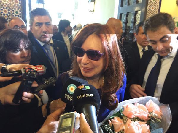 Cristina Fernández, presidenta de Argentina, a su llegada al Hotel Nacional de Cuba.