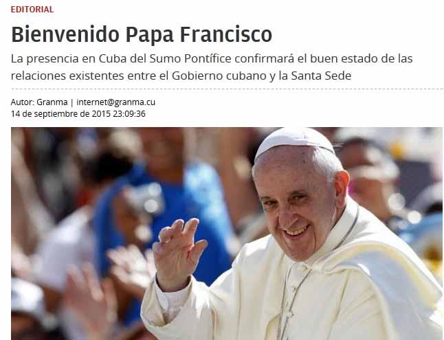 En un editorial, Granma da la bienvenida al papa Francisco.