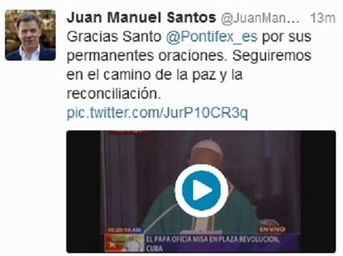 Mensaje de Juan Manuel Santos en su cuenta de twitter.