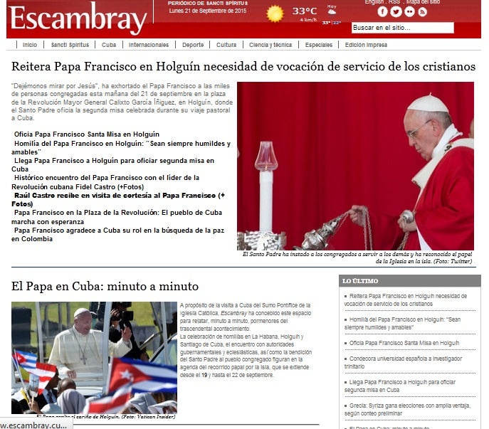 Escambray reseña la misa del Papa Francisco en Holguín.