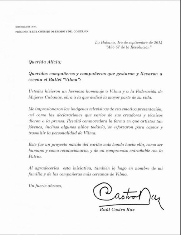 Mensaje de Raúl a Alicia Alonso.