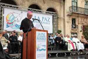 El monseñor Giorgio Lingua, Nuncio Apostólico en Cuba, leyó un mensaje del Papa Francisco.