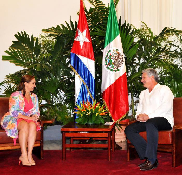Díaz-Canel recibió a Claudia Ruiz Massieu Salinas, Secretaria de Relaciones Exteriores de los Estados Unidos Mexicanos, (Canciller). (Foto: Jorge Luis González/Granma)