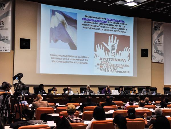 Panel Red de Emisoras y Canales en Defensa de la Humanidad, dentro de la Convención Internacional de Radio y Televisión. (Foto AIN)