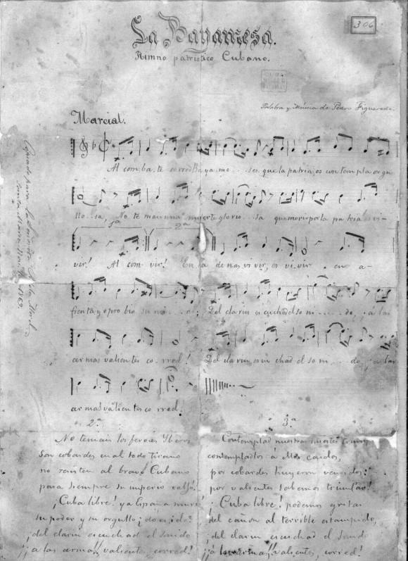 Partitura de La Bayamesa, Himno Nacional de Cuba.