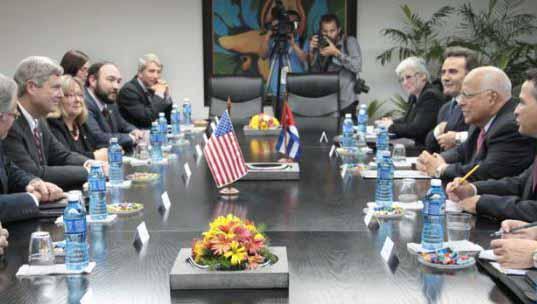 Ricardo Cabrisas recibió al Secretario de Agricultura de los Estados Unidos, Thomas Vilsack. (Fotos Granma)
