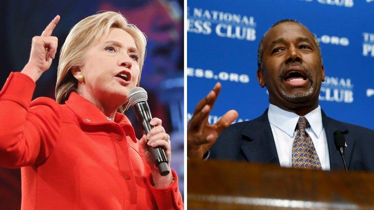 Hillary Clinton y Ben Carson lideran encuesta en Estados Unidos.
