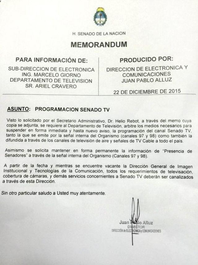 Memorando-Senado-TV argentina