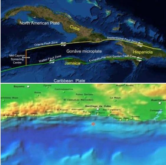 Zona sísmica del oriente de Cuba.