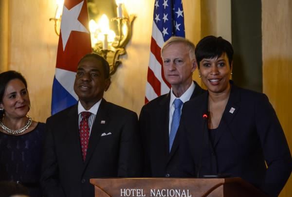 Muriel Bowser llegó a La Habana el pasado sábado al frente de una numerosa delegación. (Foto ACN)