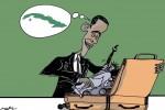 Obama está consciente de que en los Estados Unidos crece el interés por hacer negocios con Cuba. (Caricatura Osval)