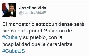 Mensaje en Twitter de Josefina Vidal anunciando la bienvenida al mandatario.
