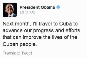 Mensaje en Twitter de Barack Obama anunciando su viaje a Cuba.
