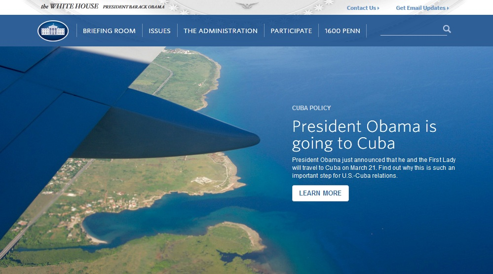 La Casa Blanca colocó en su portada de este jueves la confirmación del viaje de Obama a Cuba.