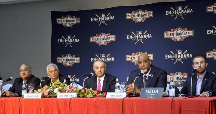 Conferencia de prensa a propósito del choque Cuba-Tampa Bays Rays. (Foto: Alberto Borrego/Granma)