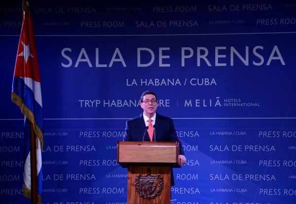 Bruno Rodríguez Parrilla, Ministro de Relaciones Exteriores de Cuba (MINREX), durante su intervención en la conferencia de prensa sobre la próxima visita del presidente de los Estados Unidos a Cuba. (Foto ACN)