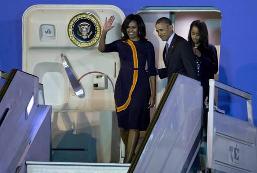 Procedente de Cuba, Obama llegó en la madrugada del miércoles a Argentina. (Foto AP)
