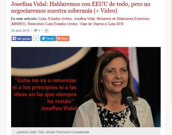 Cubadebate difunde la entrevista concedida por Josefina Vidal al canal libanés Al Mayadeen.