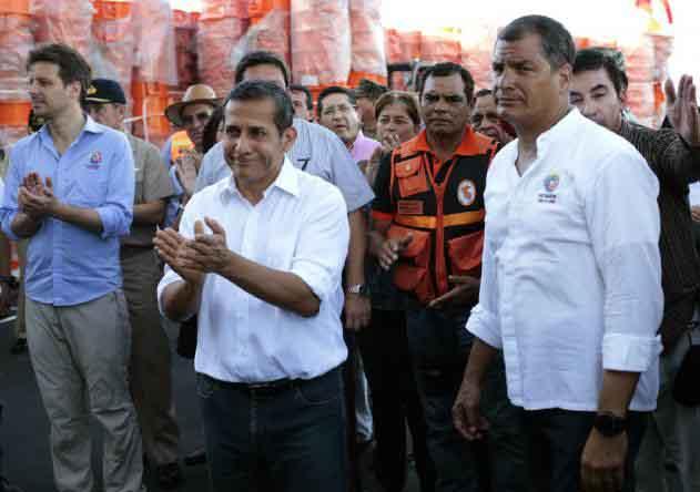 Humala elogió el ánimo de la población del área de la llamada zona cero del terremoto en Ecuador.