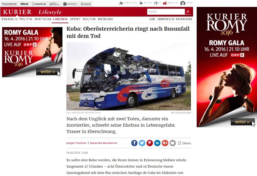 Publicación austriaca que informa el fallecimiento de Johann Eberl.