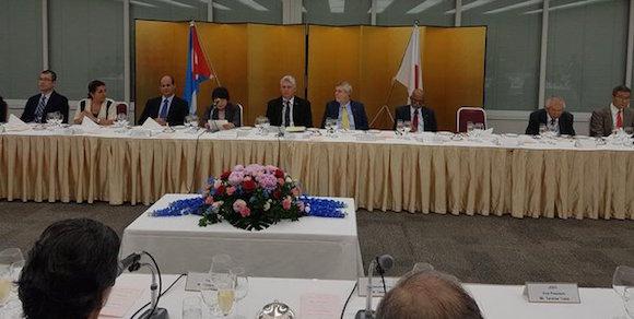 Komatsu, Yuasa, Sumitomo, Mitsubishi, Hitachi, Suzuki, Sony, Toyota y otras empresas en reunión con el Vicepresidente cubano. Foto: @RogelioSierraD / Twitter