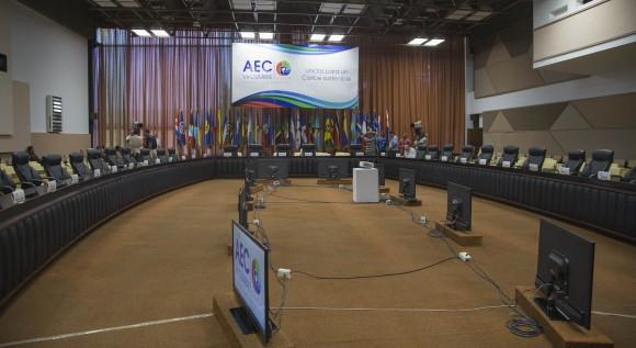 Lista la Sala del Palacio de las Convenciones donde sesionará la reunión de altos funcionarios y Cancilleres.