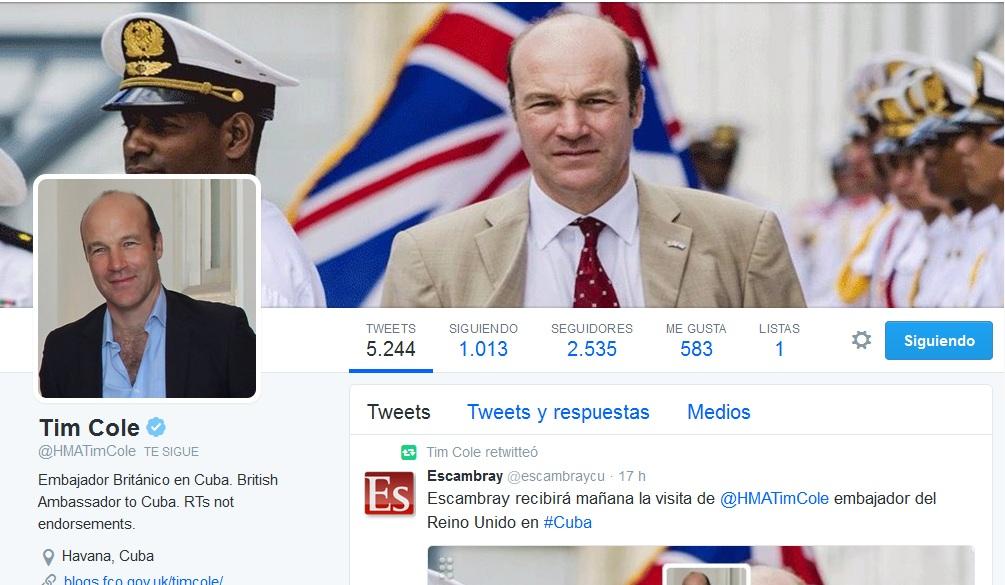 Perfil del embajador británico en Cuba en la red social Twitter.