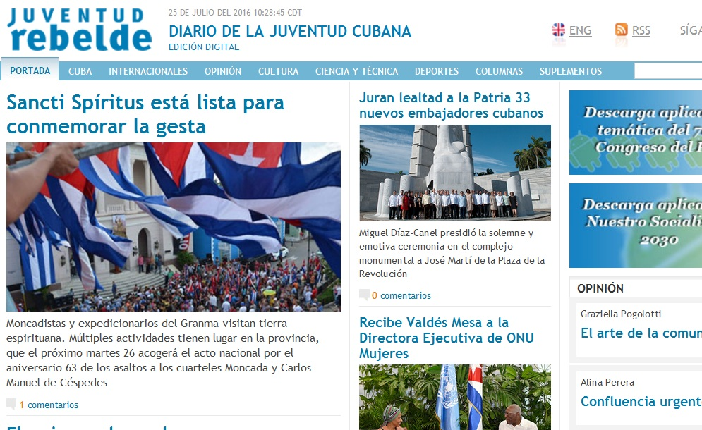 Granma, Sancti Spíritus en 26, Sancti Spíritus, 26 de julio, Moncada, Juventud Rebelde
