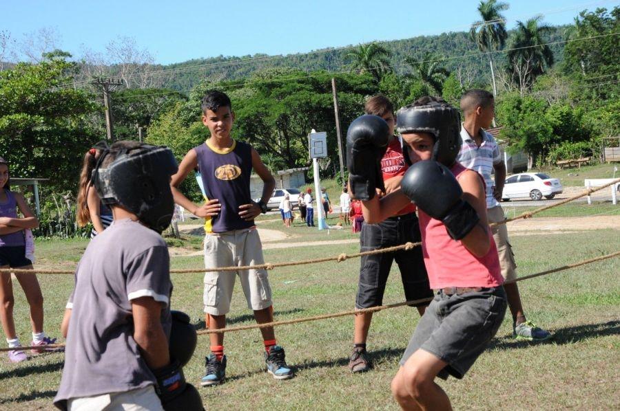 En La Hormiga es común la práctica del boxeo. (Foto: Vicente Brito/ Escambray)