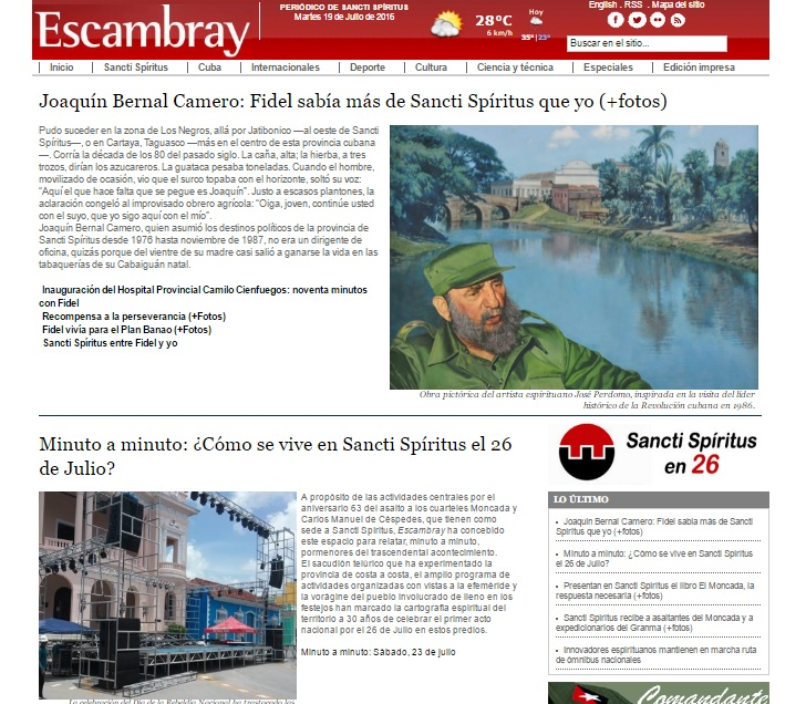 Escambray, Sancti Spíritus, Sancti Spíritus en 26, Cuba
